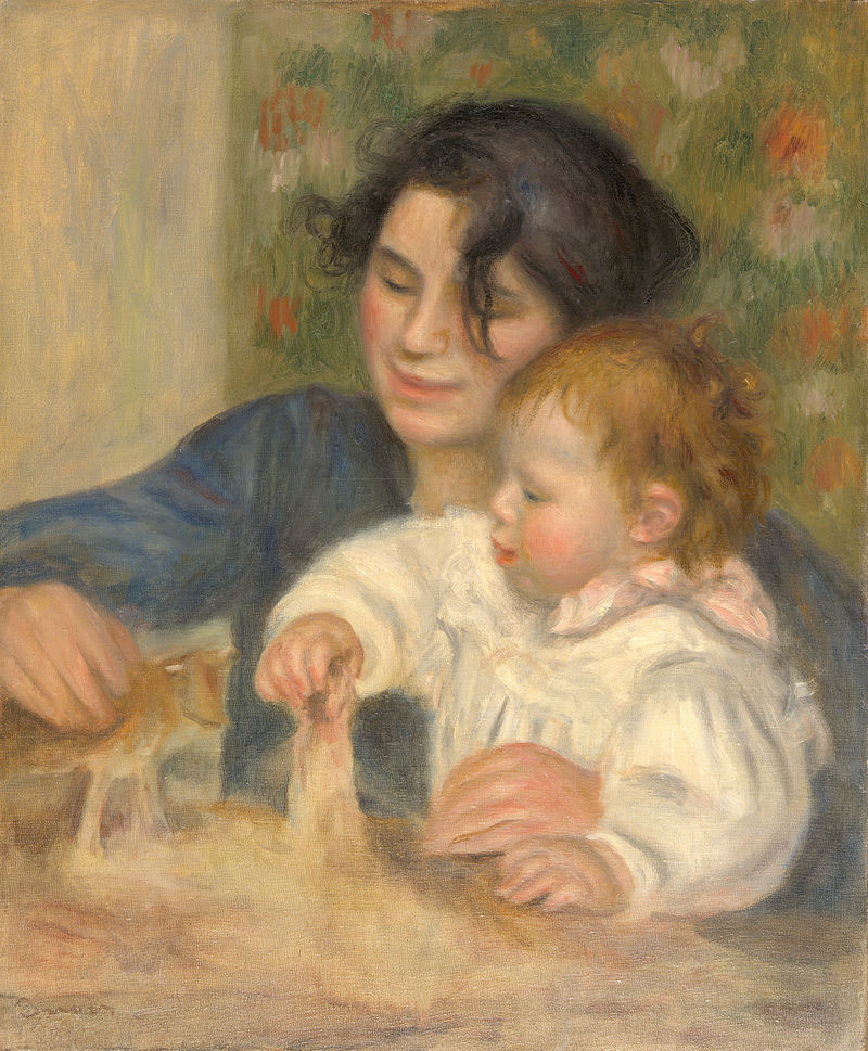 Pierre-Auguste-Renoir, painting of Gabrielle Renard and infant son, Jean.