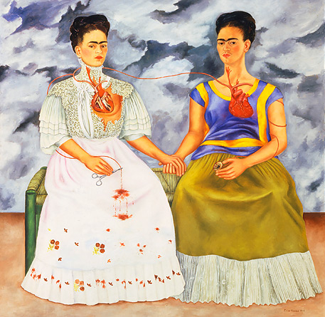 Painting by Frida Kahlo. Frida Kahlo. The Two Fridas, 1939. Oil on canvas, 5'9″ x 5'9″. Museum of Modern Art, Mexico City.