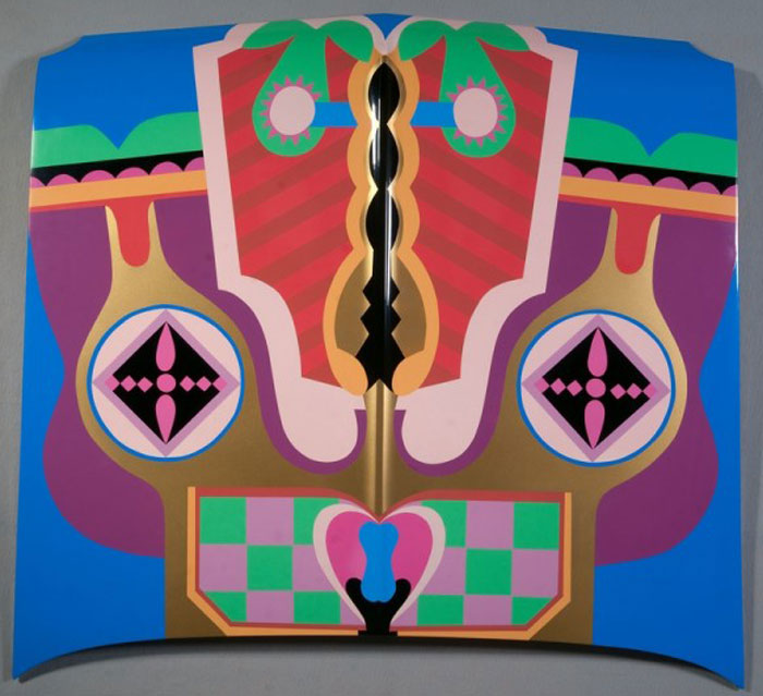 "Judy Chicago, ""Birth Hood"" (1965/2011), sprayed automotive lacquer on car hood, 42 7/8"" x 42 7/8"" x 4 5/16"". Collection of the artist."
