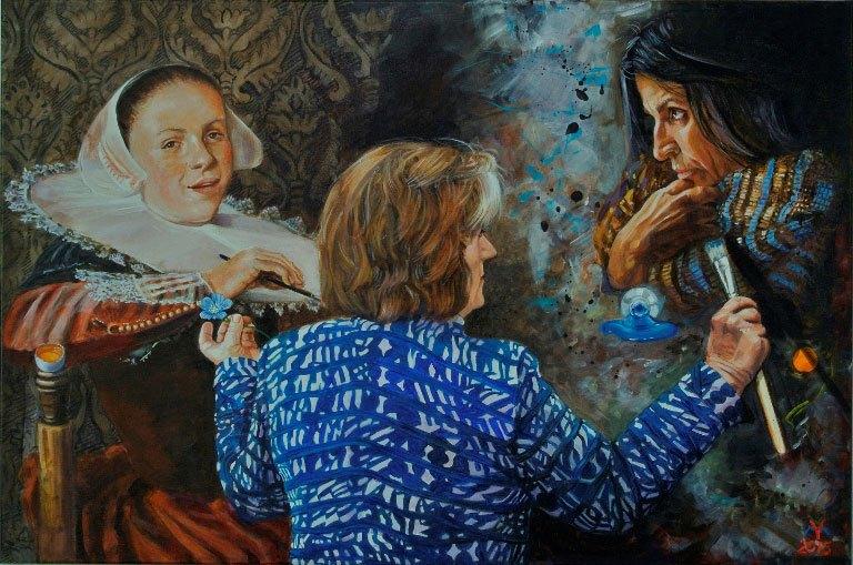 "Yvonne Welman, ""Three Graces: Judith Leyster, Yvonne Welman, Lita Cabellut"", acrylic on canvas, 47"" x 31.5""."