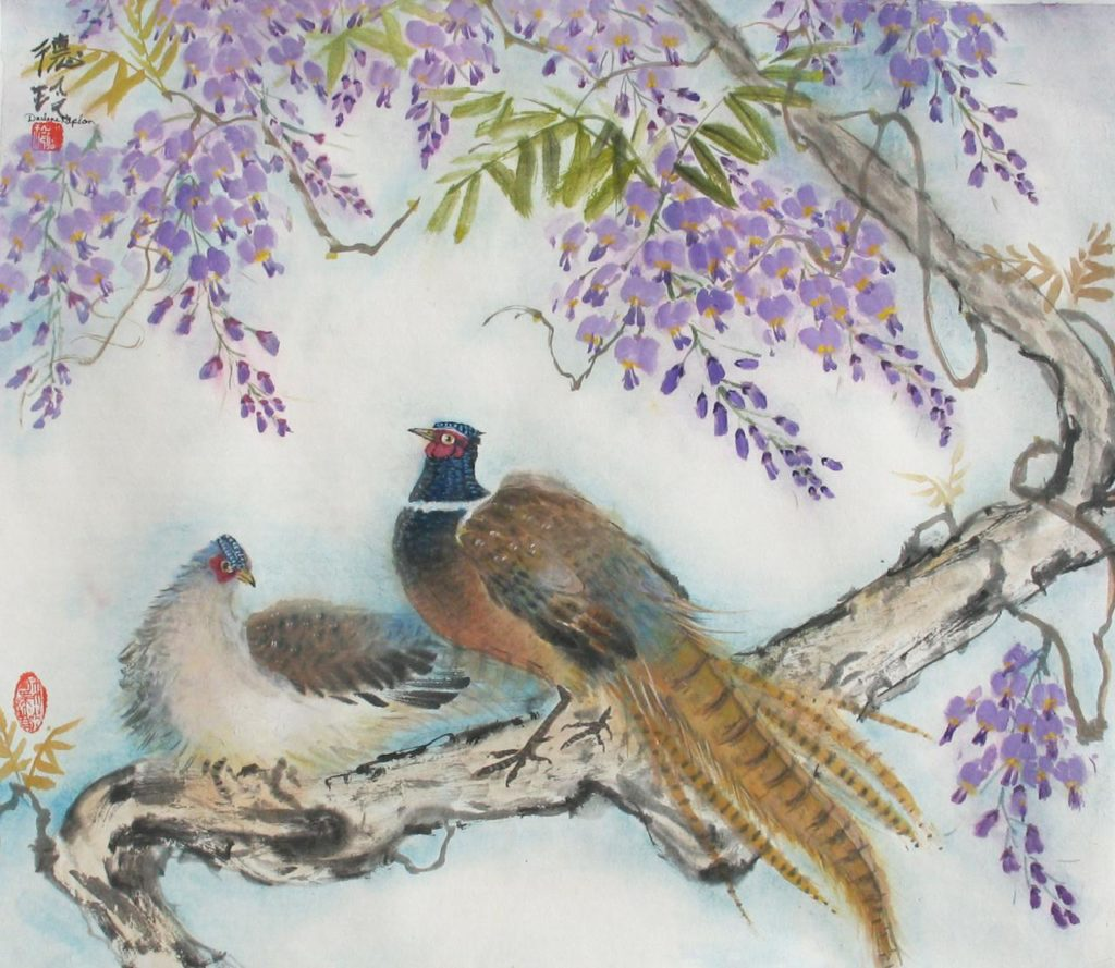 Darlene Kaplan, Pheasants in Wisteria, Oriental Brush Painting. Chinese mineral colors on acid free rice paper, 27″ x 29″.