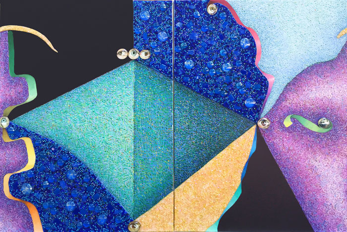 "Elynne Rosenfeld , Insight, (view 1) diptych, acrylic, glass beads, and glass marbles on canvas, each canvas 24"" X 18""."