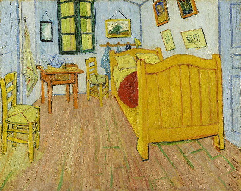 "Vincent van Gogh, Bedroom in Arles, 1888, oil on canvas, 28.3"" × 35.4""."