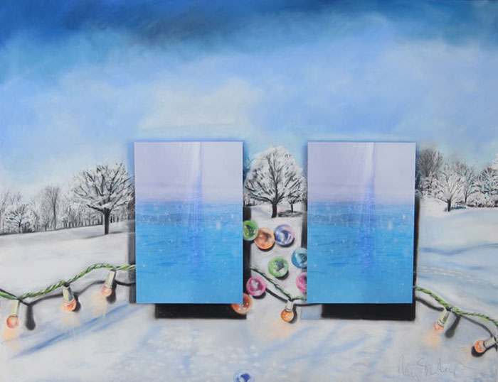 "Nancy Staub Laughlin, The Light and Sparkle of Winter, pastel on paper, photographs, crystal beads, 37"" x 50""."