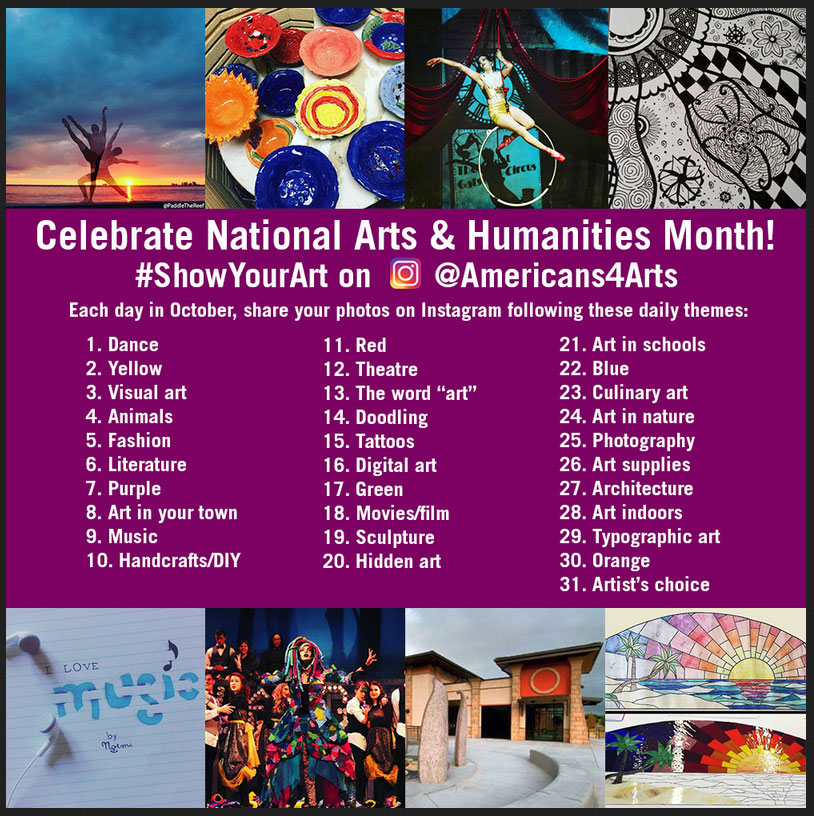 Americans For The Artists calendar of daily celebrations during the month of October.