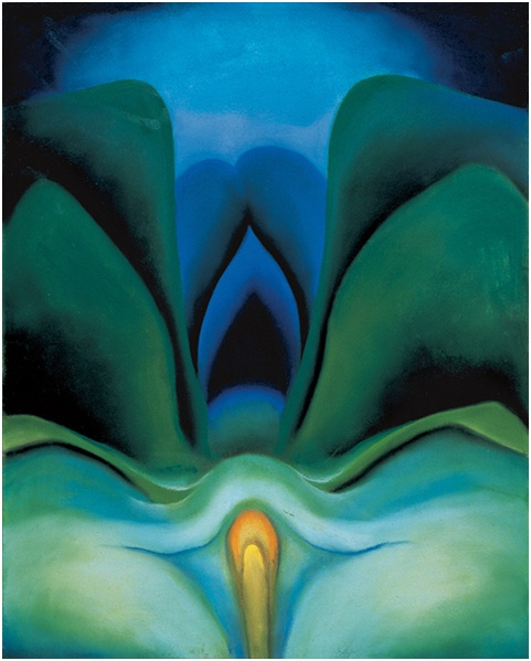 Georgia O'Keeffe, Blue Flower, 1918. Pastel on paper mounted on cardboard, 20 × 16 in. (50.8 × 40.6 cm). Georgia O'Keeffe Museum, Santa Fe, New Mexico; gift of The Burnett Foundation. © Private collection