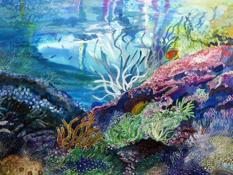 Ann Dunbar, Marine Life Magnificence, mixed media. and embroidery, 80 x 95cm. This was awarded the Gold Palm Art Award in Monaco by ArtExpo Gallery, Italy