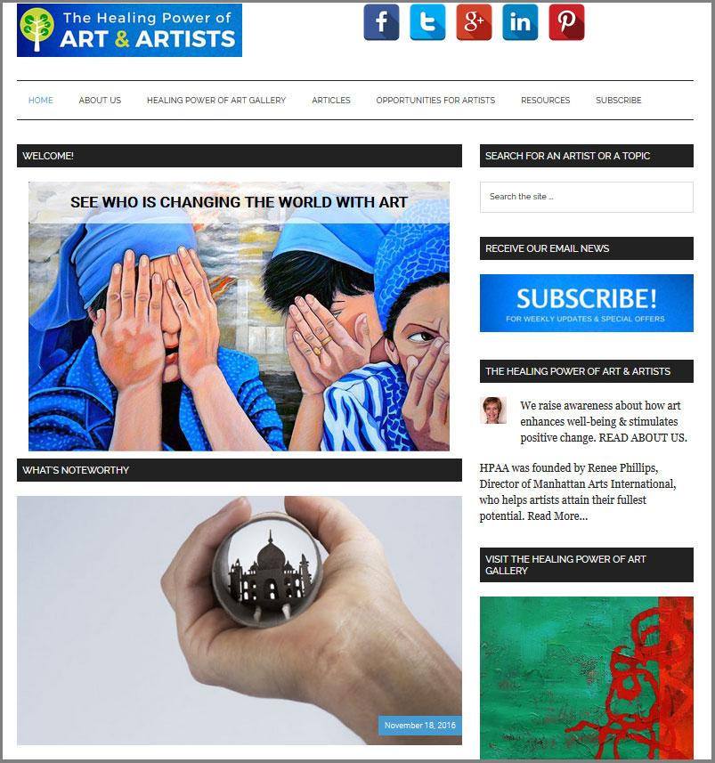 The Healing Power of ART & ARTISTS website raises awareness about the importance of art.