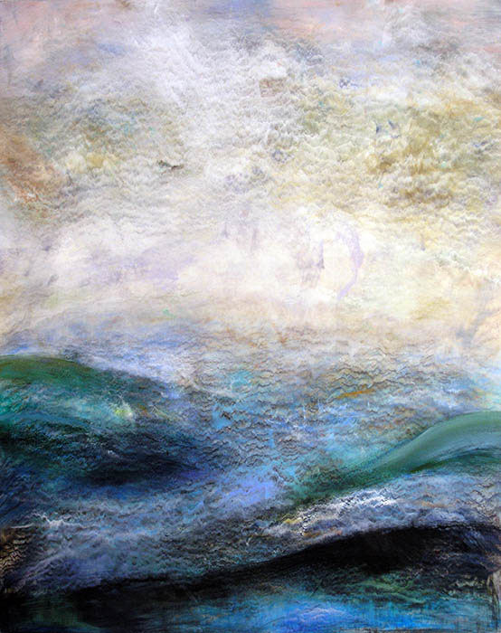 "Nancy Reyner, Turquoise Sea, acrylic on panel, 45"" x 36""."