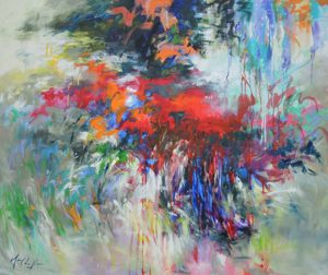 Giverny, Summer 2015, The Song of the Wind, acrylic on canvas, 47.24″ x 39.37″