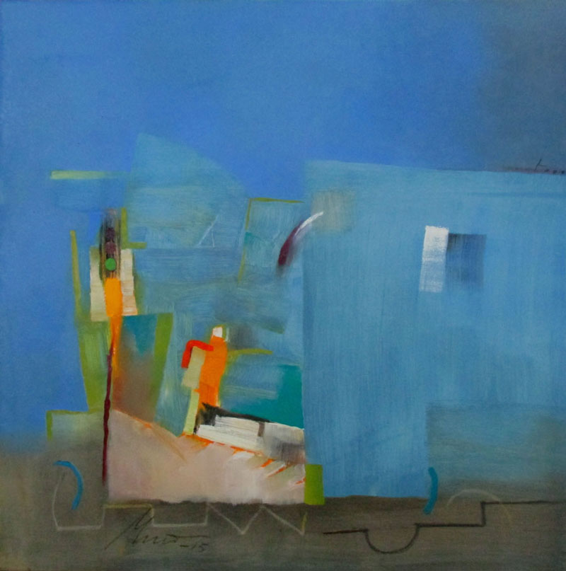 "Matti Sirvio, Slow Train Coming, oil on canvas, 36"" x 36""."