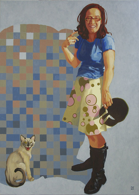 "Marie Hines Cowan, Athena in the Studio, oil on canvas, 58""x42""."