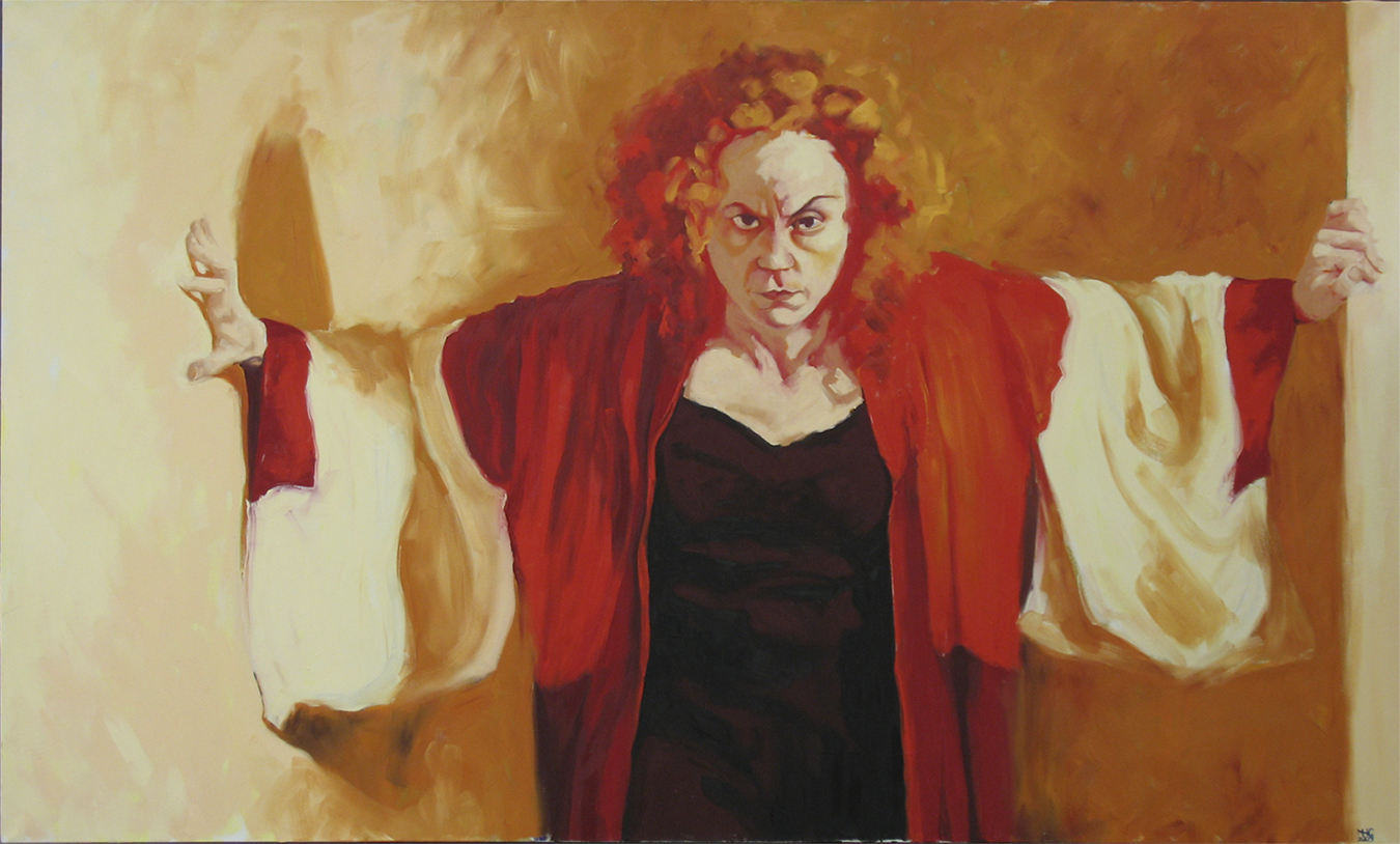 "Marie Hines Cowan, oil on linen, 32"" x 70""."