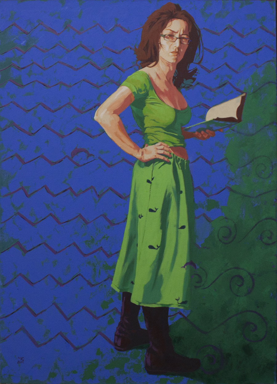 "Marie Hines Cowan, Athena at Barnes and Noble, oil on canvas, 58"" x 42""."