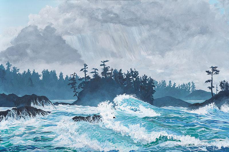 "Peter N. Van Giesen, Sea & Land Meet, Ucluelet, West Coast of Vancouver Island, acrylic on canvas, 24"" x 36""."