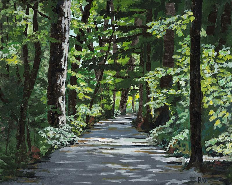 """Peter N. Van Giesen, Pathway to Elk Lake, acrylic on canvas, 22"""" x 28"""""""