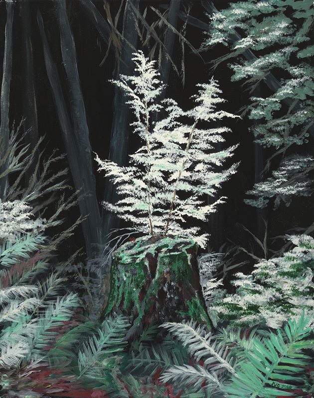 "Peter N. Van Giesen, Rebirth, Recycle, acrylic on canvas, 22"" x 28""."